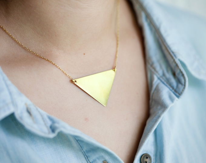 Large Brass Triangle Charm Necklace // Raw Cut Brass Necklace // Gold Necklace // Personalized Stamped Necklace