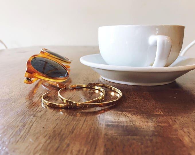 Tracks Bracelet    Tiny Brass Cuff    Brass Cuff Stack Bracelets    Stacking Bracelet    Simple Dainty Cuff    Geo Supply Co.