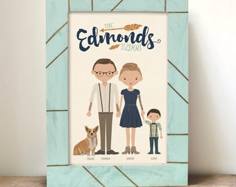 Custom Illustrated Family Portrait •Mother's Day gift •Gift for Mom Dad Parents Tattoos • Fun unique gift idea •Personalized illustration