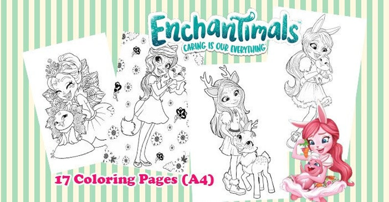 Coloriage Enchantimals A Imprimer.Images Digitales A Colorier Set De 17 Images A4 Enchantimals Etsy