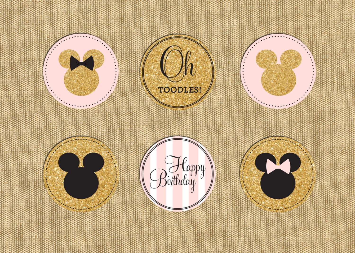Minnie Mouse Party Cupcake Toppers Minnie Party Stickers | Etsy