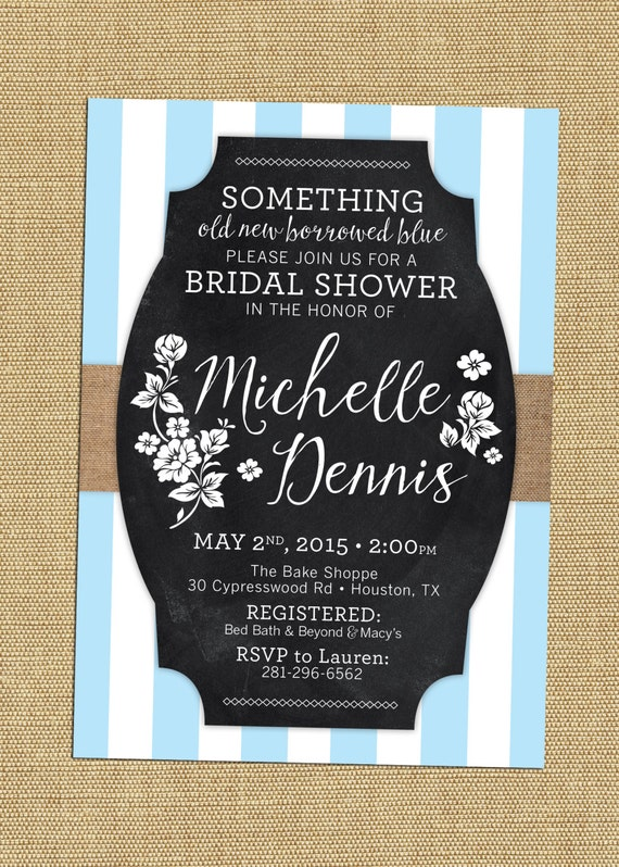 Something blue bridal shower invite rustic chalkboard bridal etsy image 0 filmwisefo