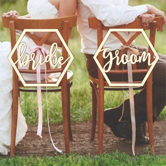 Admirable Bride Groom Sign Chair Signs Geometric Hexagon Weddign Chair Signs 190213 Pdpeps Interior Chair Design Pdpepsorg