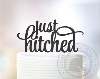 Just Hitched Wedding Cake Topper 12-232