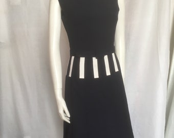 45eb6970bf3 Vintage Designer Navy Blue JEAN PATOU Paris Belted Sleeveless Mod Dress  Pleated Skirt