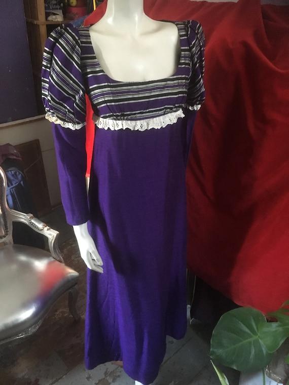 1960s/70s QUAD Empire Line Hippie Boho Purple Raw