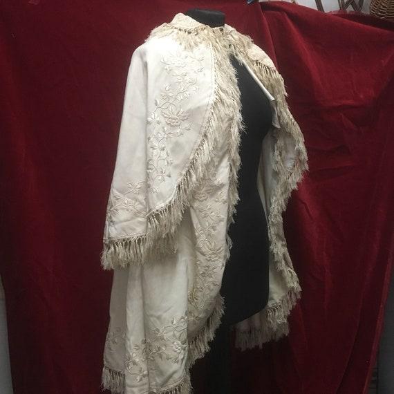 Victorian Child Cream Embroidered Tasseled Cape