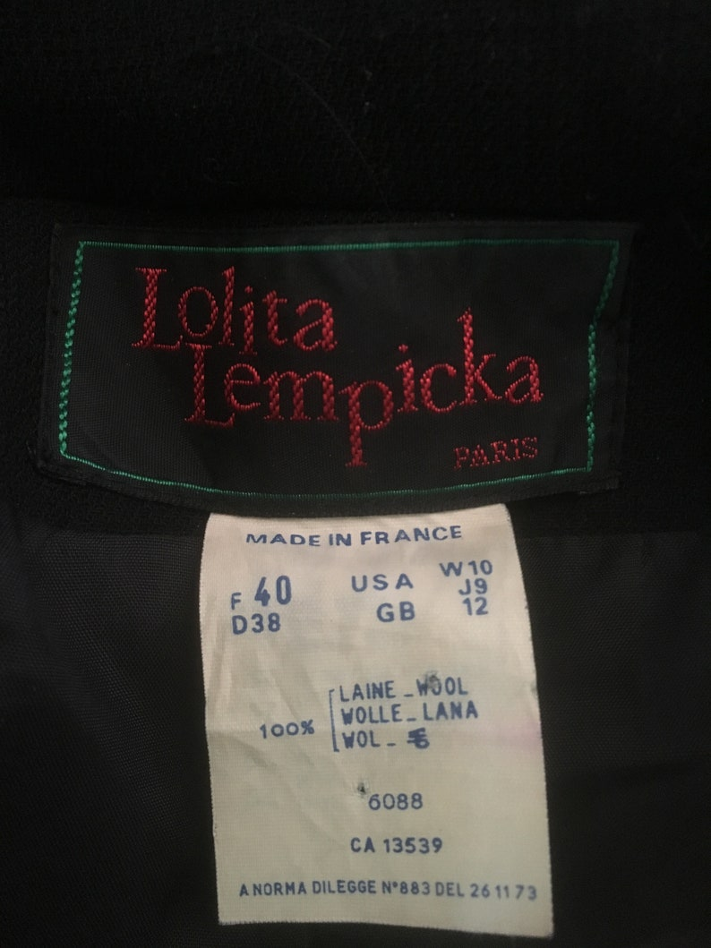LOLITA LEMPICKA 1990s Black Wool Skirt Suit Gilded Braiding Buttons Formal Special Occasion Military