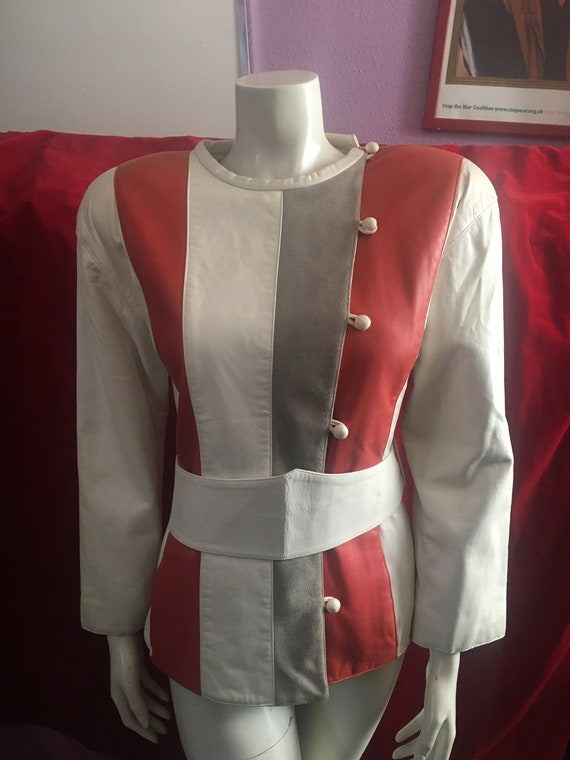 Courrèges 1970s Vintage Leather Striped Ivory Whit