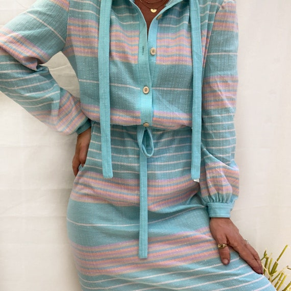 Vintage Rainbow Pastel Striped Dress, Retro Dress,