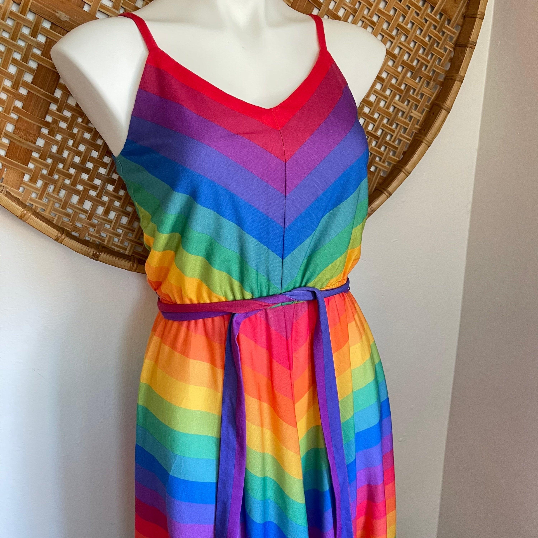 80s Dresses | Casual to Party Dresses Vintage Rainbow Striped Dress, Retro Womens, 1980S, Summer Midi Day Colorful Stripe Chevron Dress $0.00 AT vintagedancer.com