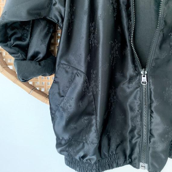 Vintage Black Silk Bomber Jacket 90s Oversized, W… - image 3