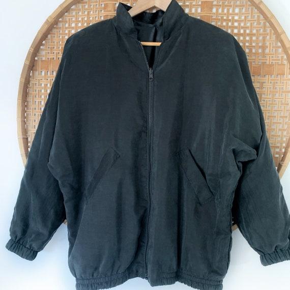 Vintage Black Silk Bomber Jacket 90s Oversized, W… - image 2