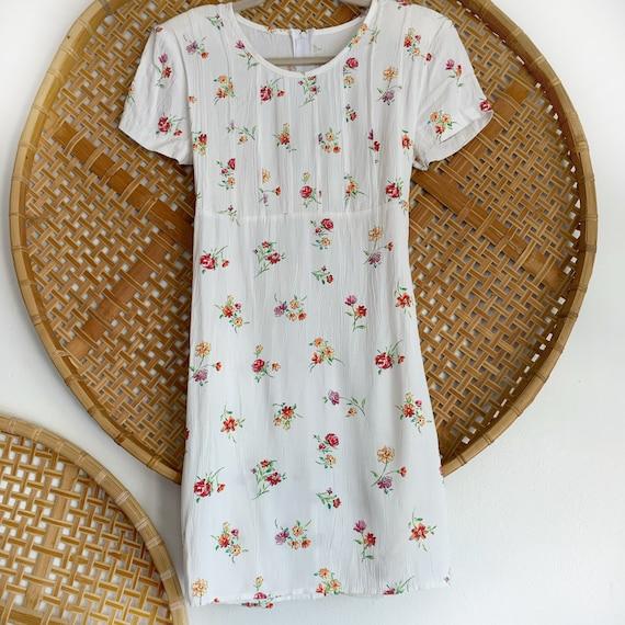 90s Vintage White Ditsy Floral Summer Dress, Mini… - image 5