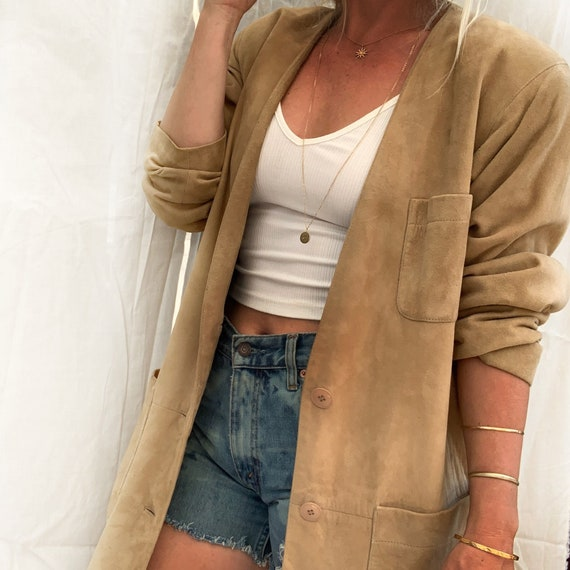 90s Vintage Tan Leather Suede Jacket Oversized Jac