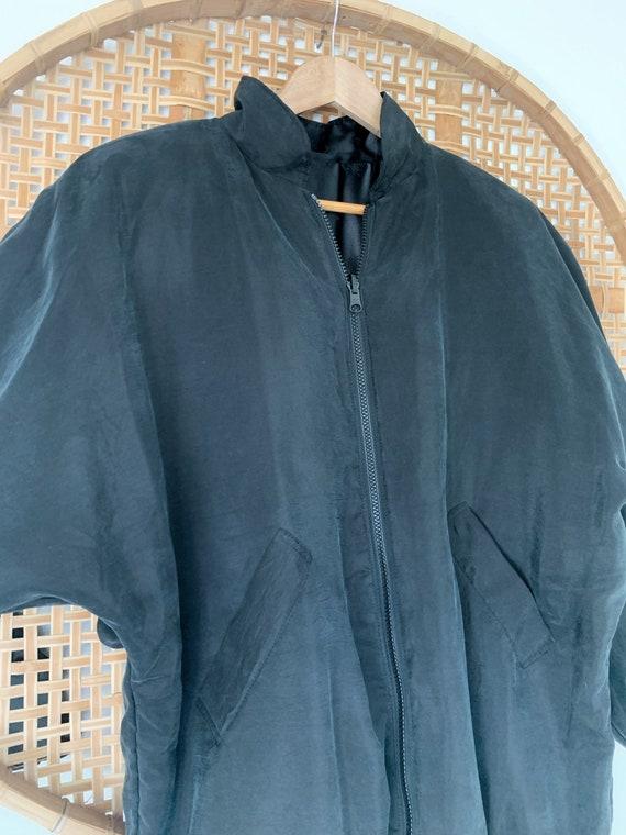 Vintage Black Silk Bomber Jacket 90s Oversized, W… - image 6