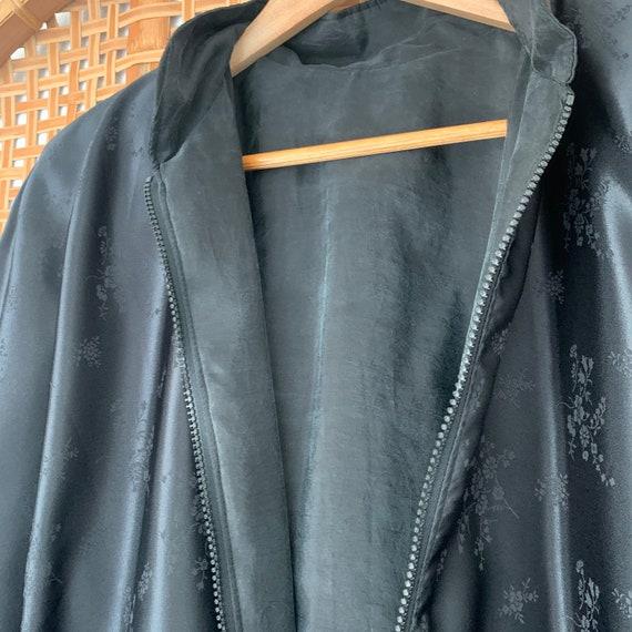 Vintage Black Silk Bomber Jacket 90s Oversized, W… - image 4