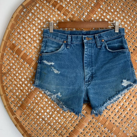 WRANGLER Vintage Distressed Denim Shorts High Wais