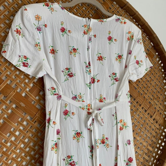 90s Vintage White Ditsy Floral Summer Dress, Mini… - image 4