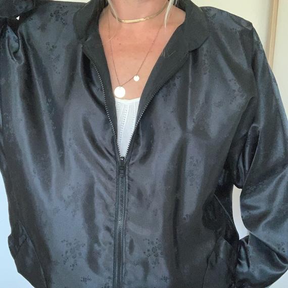 Vintage Black Silk Bomber Jacket 90s Oversized, W… - image 1