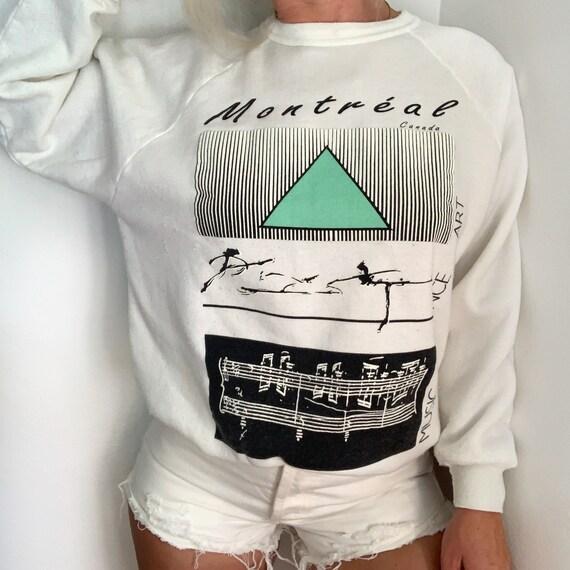 Vintage White Crew Neck Sweatshirt, Montreal Canad