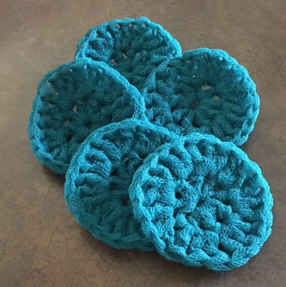 Peach.. pot scrubber dish scrubbie nylon set//lot 10 handmade crochet Dk Brown