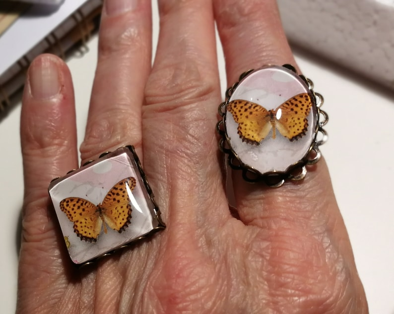 Oval or square amid powder and White Butterfly cabochon ring