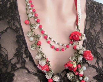 Necklace lace and flowers