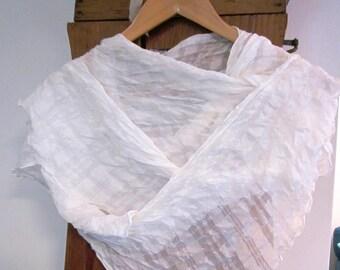 Hood 100% white flocked silk shawl