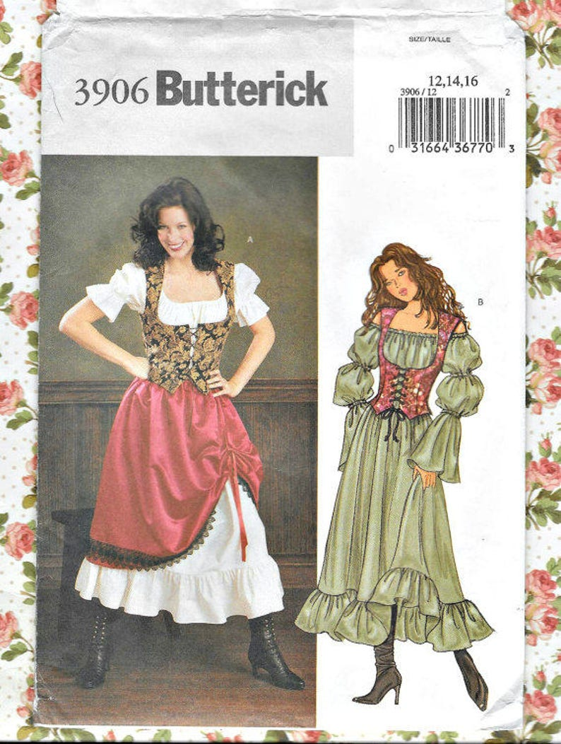 MISSES / MISSES' play suit medieval sewing pattern - Butterick 3906 2003,  sizes 12 14 16 - Gently Used