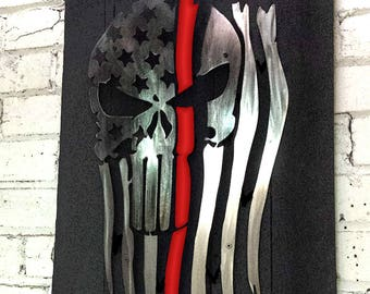Metal Tattered Punisher flag with Thin Red Line on reclaimed wood frame