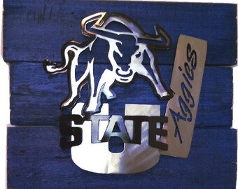 Utah State Aggies 3D mult-layered metal art on a reclaimed pallet wood frame