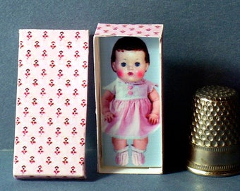 Dollhouse Miniature 1:12 Terri Lee Doll Box  Blond  retro Dollhouse girl
