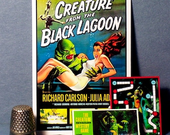 Creature From The Black Lagoon Mystery Game & Poster - Dollhouse Miniature 1:12 scale -  1960s Dollhouse Movie Monster game toy