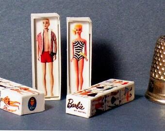 Barbie and Ken Doll Box Set -  Dollhouse Miniature - 1:12 scale - Dollhouse Accessory - 1950s Dollhouse girl toy Miniature Barbie Ken box