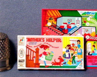 Mothers Helper Game 1960s - Dollhouse Miniature - 1:12 scale - Game box and game board - Dollhouse Accessory - 1960s Dollhouse girl game toy