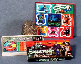 Addams Family Game 1964  - Dollhouse Miniature - 1:12 scale - Game box and game board - 1960s dollhouse Halloween Haunted House game toy