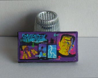 Frankenstein Mystery Game 1960s  - Dollhouse Miniature - 1:12 scale  Game Box and Game Board - 1960s Dollhouse Halloween Haunted House game