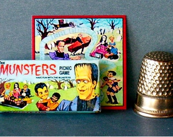Munsters Picnic Glame  - Dollhouse Miniature - 1:12 scale - Game Box and Game Board -1960s Dollhouse Halloween Haunted House game toy