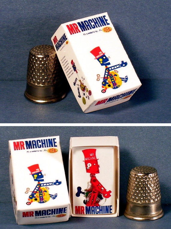Dollhouse Miniature 1:12 Mister Machine Toy Box 1960s Dollhouse robot toy box
