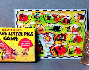 Three Little Pigs Game - Dollhouse Miniature - 1:12 scale - Dollhouse Accessory - Game Box and Game Board - Dollhouse child nursery game toy