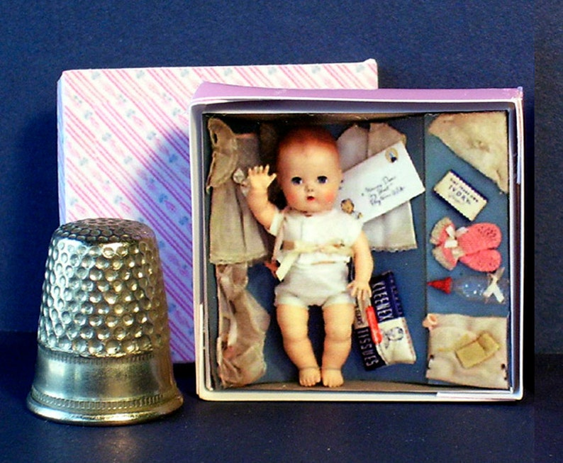 Tiny Tears Layette Doll Box 1950s  Dollhouse Miniature  1:12 image 0