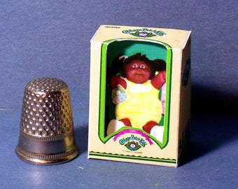 Cabbage Patch Kid African American Girl Doll Box - Dollhouse Miniature 1:12 scale - 1980s Dollhouse AA Girl Cabbage Kid baby nursery toy