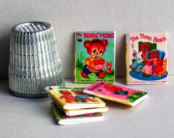 Teddy Bears -  6 Junior Elf Books - Dollhouse Miniature - 1:12 scale - Dollhouse baby nursery books - Three Bears. Teddy Bear Twins, more