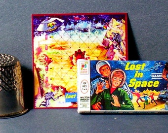 Lost in Space Game 1965 - Dollhouse Miniature - 1:12 scale -  Dollhouse Accessory - Game Box and Game Board - 1960s Dollhouse boy girl game
