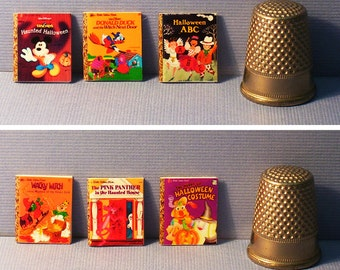 Halloween - 6 Little Golden Books - Doll House Miniature - 1:12 scale - Mickey & Friends, Donald Duck, Pink Panther, Wacky Witch, ABC, more