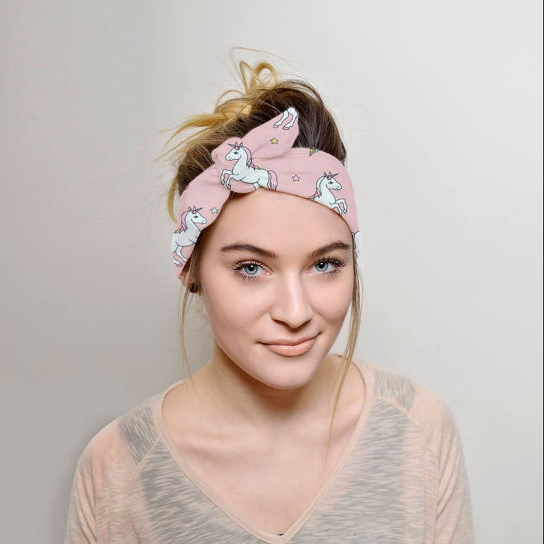 Unicorns Headband Adult Tie headband Women Vintage style  e63570d0939