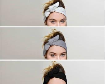 Headbands for women, Black Grey Ivory SET of 3, Adult headband woman
