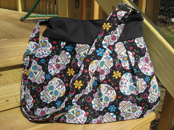 HOBO BAG HOBO Purse Cross Body Hobo Bag Sugar Skull Bag  d62065e2c068b
