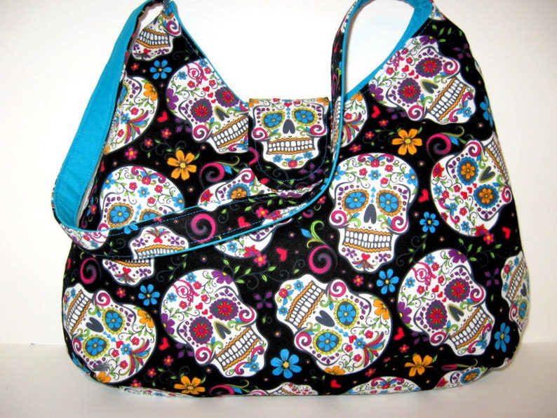 SUGAR SKULL HOBO Bag Hobo Purse Day Of The Dead Bag  ad5a4e24689f1